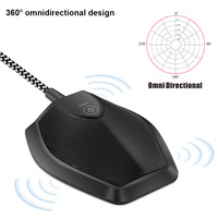 New USB Table Top Conference Microphone Meeting Mute Stereo Omnidirectional Mic