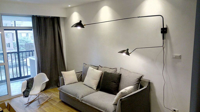 Serge Mouille 2 Arm Rotating Sconce Wall Lamp Modern Light Black Or