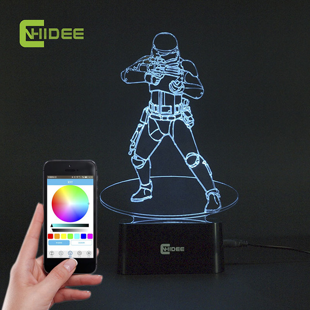CNHIDEE USB Novelty Star Wars Bluetooth Music Desk Lampara 3D Stormtrooper Bulbing Led Luz de Noche Engraving Night Light Decor