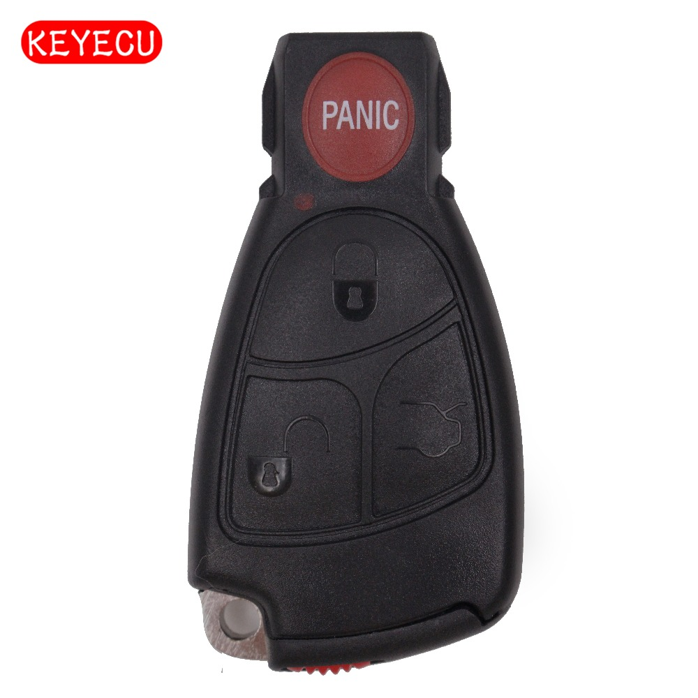Keyecu Smart Remote Key Shell Case Fob Keyless Entry 3+1 Button For Mercedes-Benz E C R CL GL SL CLK SLK Class