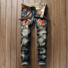 New Brand Men s Tiger Patches Patchwork Hole Jeans Male Casual Straight Fit Denim Pants Long
