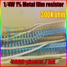 НОВЫЙ 5000 шт. 300 К ом 1/4 Вт 300 К R Металл Резистор 300 Ком 0.25 Вт 1% ROHS