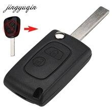 Jingyuqin 10 шт. изменение Оболочки подходит для Citroen C2 Peugeot 307 607 207 2 buttton HU83 Blade Флип Складные дистанционного чехол для ключей брелок