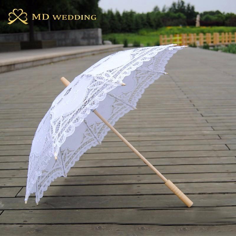 New Lace Umbrella Cotton Embroidery White/Ivory Battenburg Lace Parasol Umbrella Wedding Umbrella Decorations Free Shipping 11