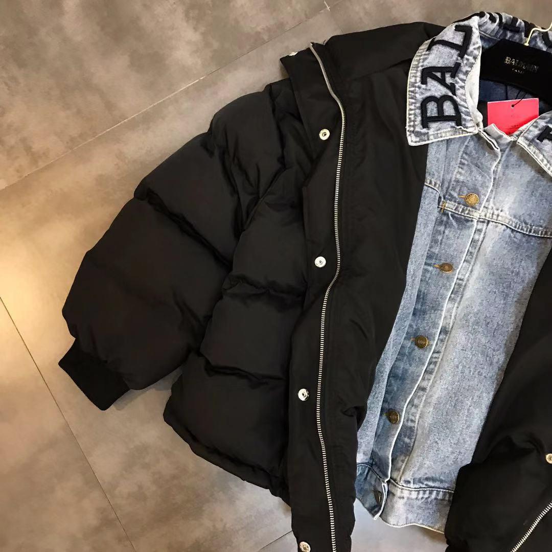 Lettres Denim Nouvelle Vêtements Hiver Épais Tendance 2018 Broderie Veste Coton Rue Couture Parka CqAT0