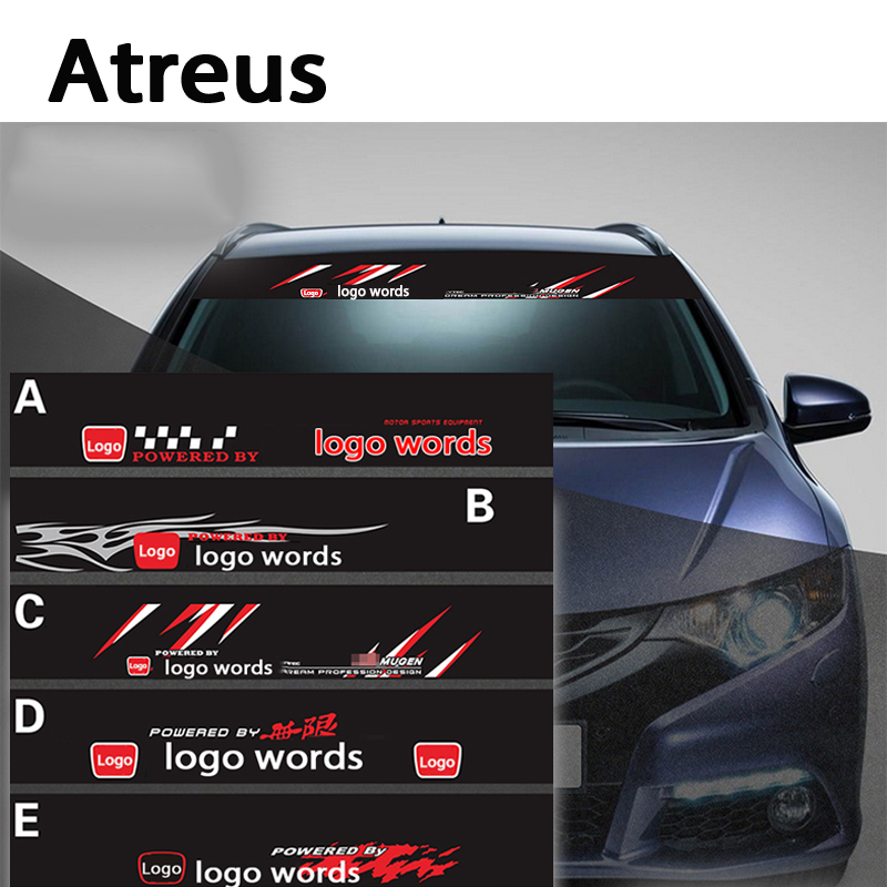 Atreus 1pcs Car Logo Front Window Reflective Stickers For