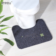BYDOLL Soft Non Slip Bath Toilet Cover Carpet Absorbent Rugs TPR Bottom Embroidery Mats For Bathroom Toilet
