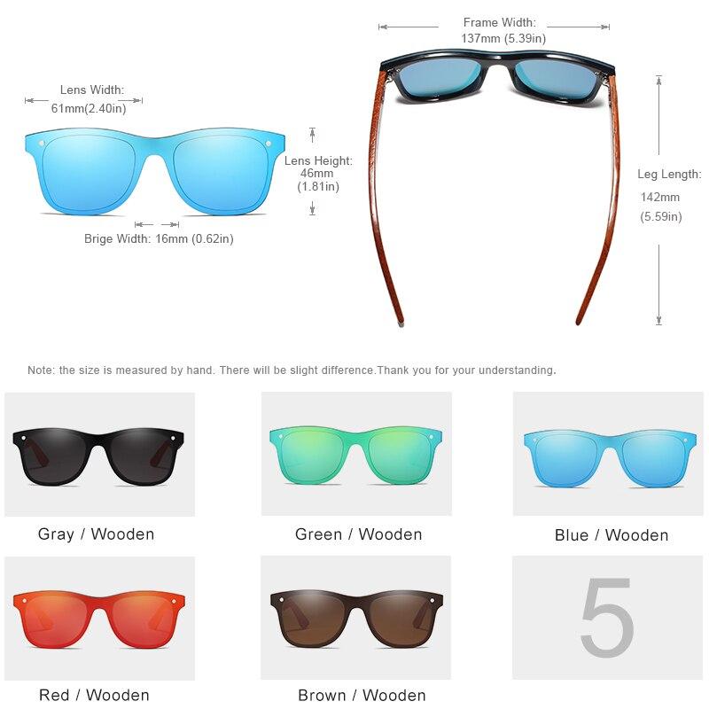 KINGSEVEN Wood Sunglasses Men Women Square Bamboo Women Mirror Sun Glasses Oculos de sol Masculino Handmade With Wooden Case