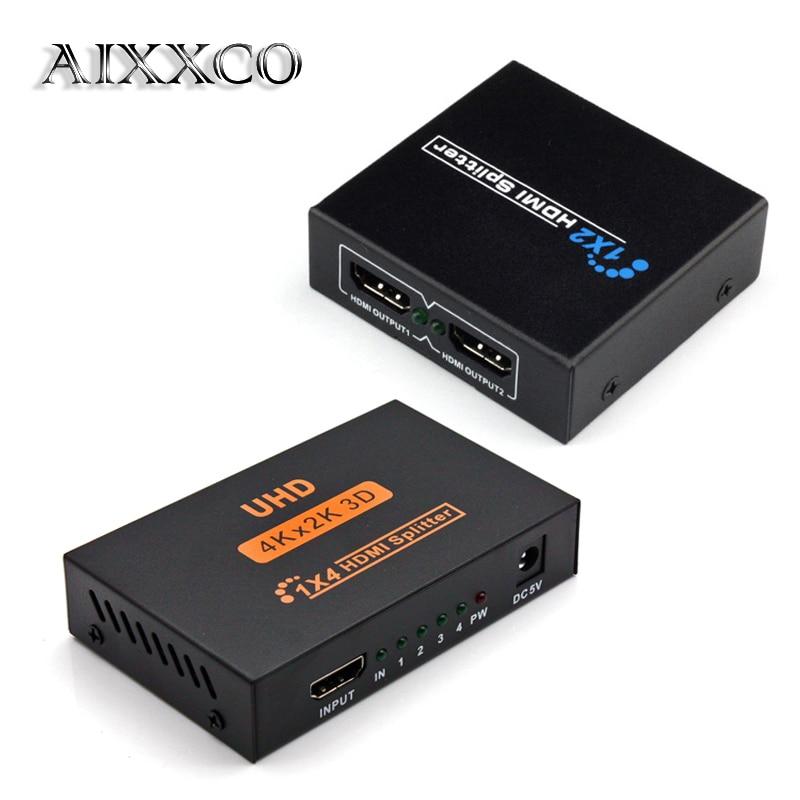 AIXXCO HDCP HDMI Splitter Full HD 1080p Video HDMI Switch Switcher 1X2 1X4 Split 1 in 2 Out Amplifier Display For HDTV DVD PS3hdmi switch switcherhdcp hdmi splitterhdmi switch -