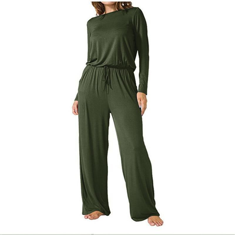 Dreamskull Womens Loose Casual Pockets Jumper Scoop Wide Leg Ladies Rompers  Long Sleeve Jumpsuits