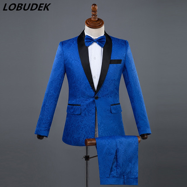 Black white Men s Suits Host Prom Formal stage costumes Male singer Chorus  performance clothes Wedding groom Studio Slim Suit ce8a5653f119