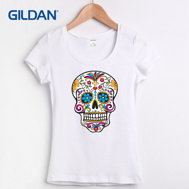 7675c2d3 Online Buy Tee Shirt 2017 Sugar Skull Roses Eyes Day Of The Dead Mexican  Gothic Los Muertoss T Shirt Onlines And Striped T-Shirt