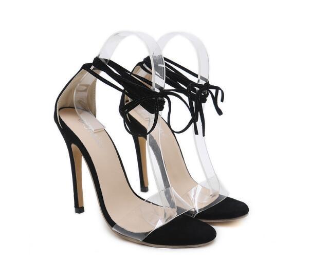 Mujer Nuevo Sexy Stilettos Boda Partido Negro Cruzada Altos Tacones Tobillo Sandalias Mujeres Hebilla Damas Verano Bombas Zapatos Correa RxnqYraRw