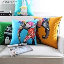 Vintage Dekorative Kissen Elefanten Wohnzimmer Gelb Couch Sitz Boden Floral Stuhl Aussensitz