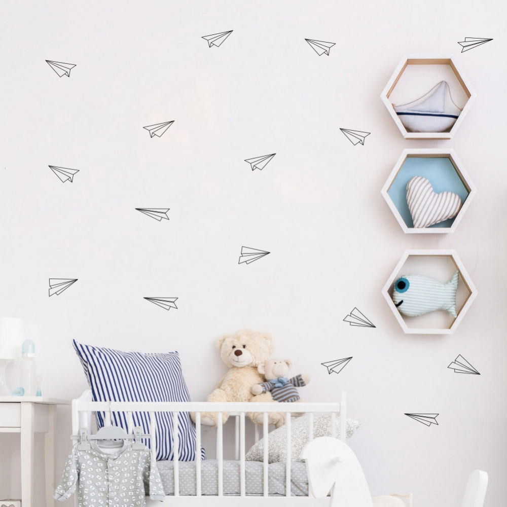 Us 4 47 20 Off 16 Pcs Geometric Origami Airplane Wall Decals Nursery Art Decor Flying Vinyl Stickers Living Room In