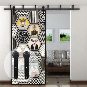 Потолочный кронштейн LWZH для раздвижных дверей, фурнитура для деревянных дверей 4-20 футов, круглые черные ролики для раздвижных дверей