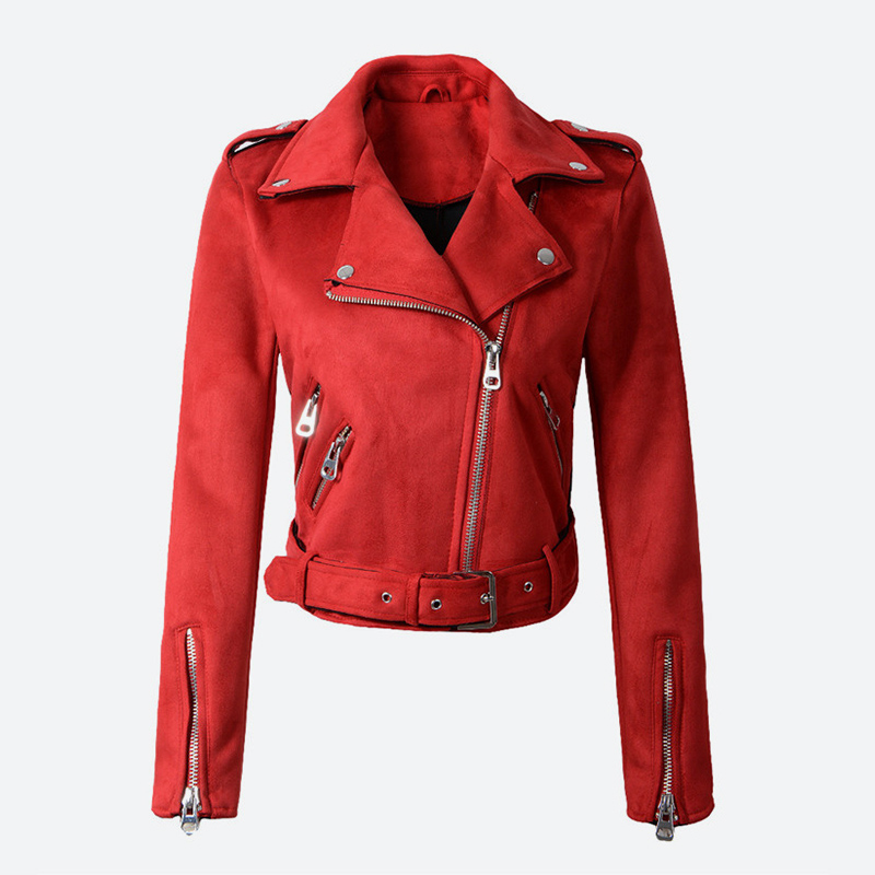 Faux PU   Leather     Suede   Short Women's Jacket Multy Zipper Motorcycle Solid Coat Women 2019 Autumn Winter Red Biker Jackets Female