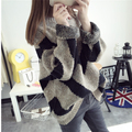 2016 Winter Women Wool Knitted Sweater Batwing Sleeve Tops Pullover Coat Loose Outwear Plus Size w-034