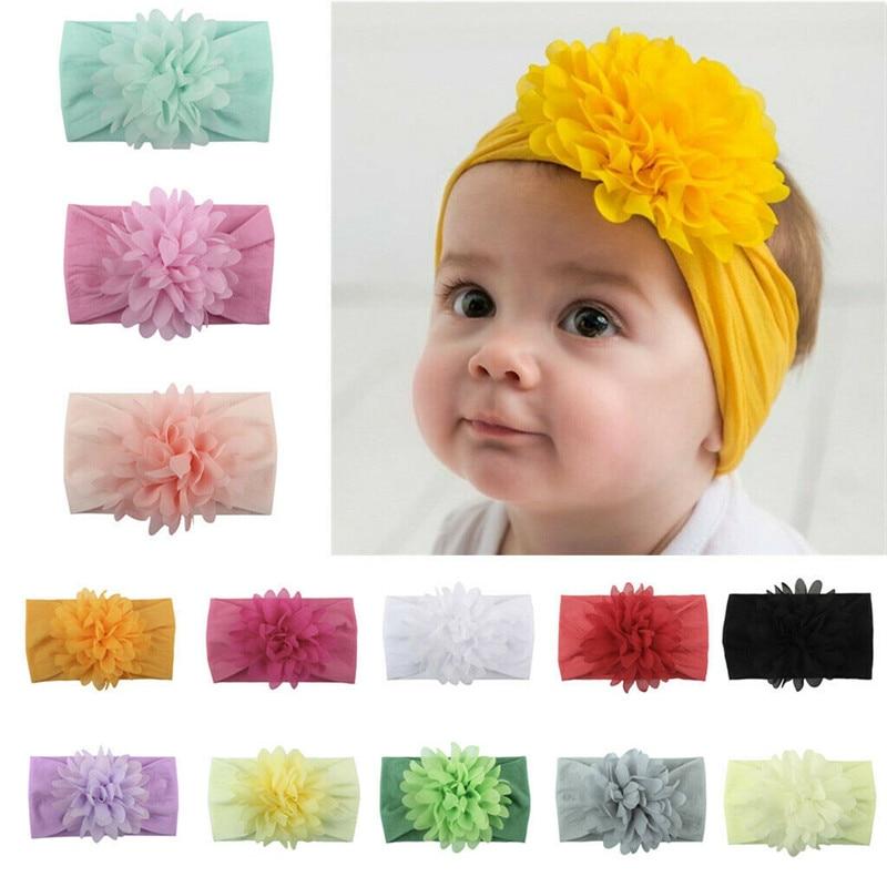 Cute Girls Baby Toddler Turban Chiffon Flower Headband Hair Band Solid Headwear Hair Accessories Yellow Pink White 13Colors