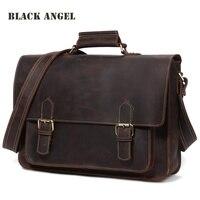 Черный Ангел из натуральной кожи мужские сумки повседневные мужские портфель из яловой кожи мужские винтажные сумки через плечо