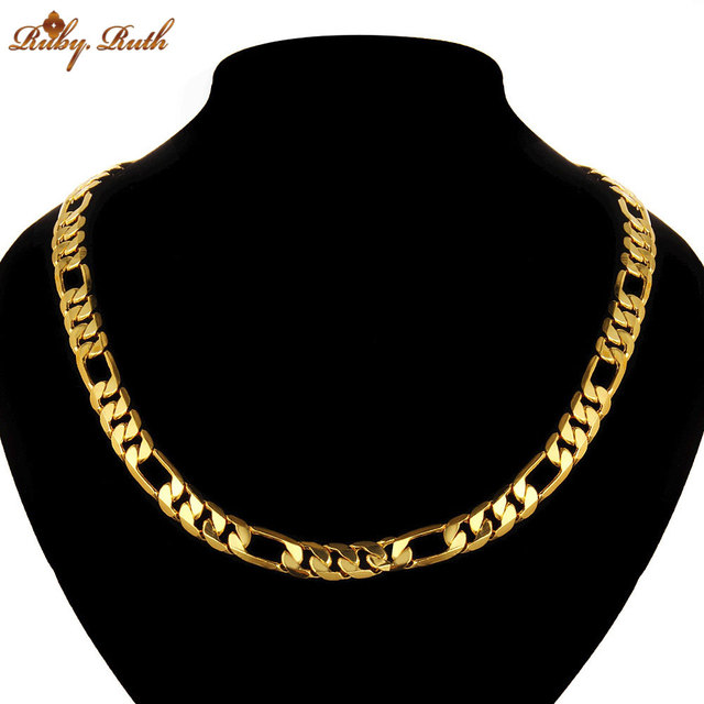 Classic Luxury Men jewelry Gold Color Necklace Chain Men Stamp Men Jewelry New Trendy Long Wedding Chain Necklace 2017