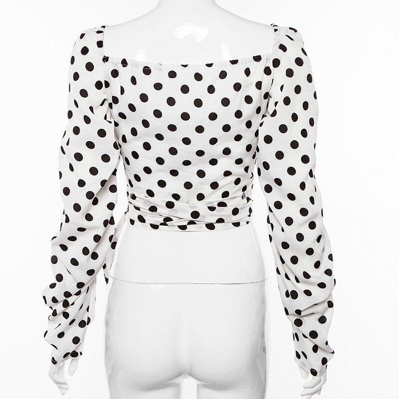 2019 New Vintage White Shirt Woman Polka Dot Short Sexy Women