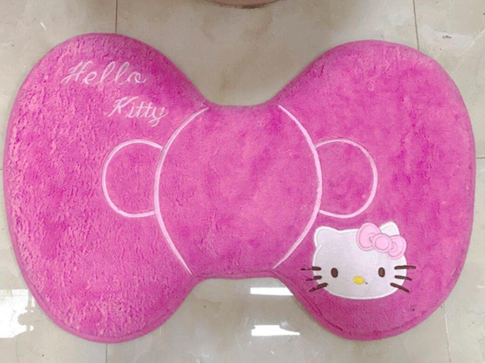 Мягкий теплый меховой коврик для ванной с рисунком котенка из мультфильма, Набор чехлов для унитаза - Цвет: bowknot mat