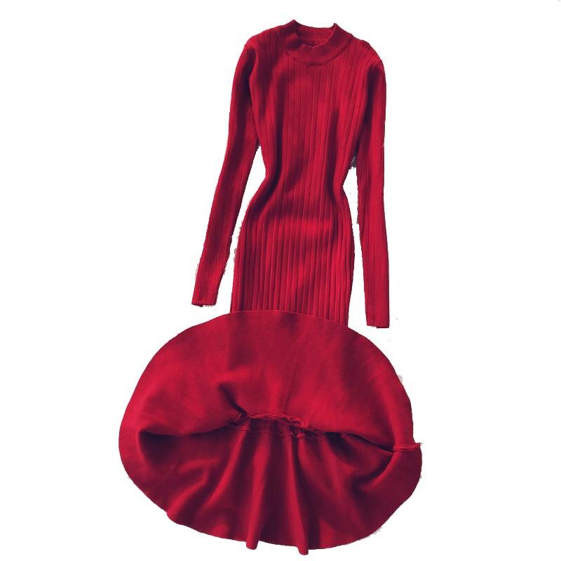 Women Long Sleeve Knitted Trumpet Maxi Dress Winter Slim Elegant Sweater Dress Women Sexy Package Hip Work Office Party Dress