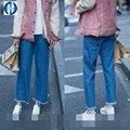 PIKB 2016 ДЖИНСОВЫЙ стиль женщины моды флэш-клеш джинсы свободные прямые случайные джинсы благодать женщины широкие брюки ноги