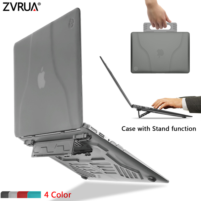 low priced 20a20 a84b5 US $14.61 33% OFF|High quality Stylish matte portable hard case with  portable stand/bracket for MacBook Air 13