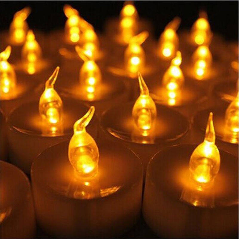 24 pcs Yellow Mini LED Tea Lights Candle With Timer Glow Electric Birthday Candle Small Flicker Flame Candle Led Timer Lantern