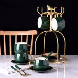 Europa xícara de café criativo porcelana dourada conjunto xícara de café inglês da tarde copos de chá e pires caneca conjunto casa presentes festa