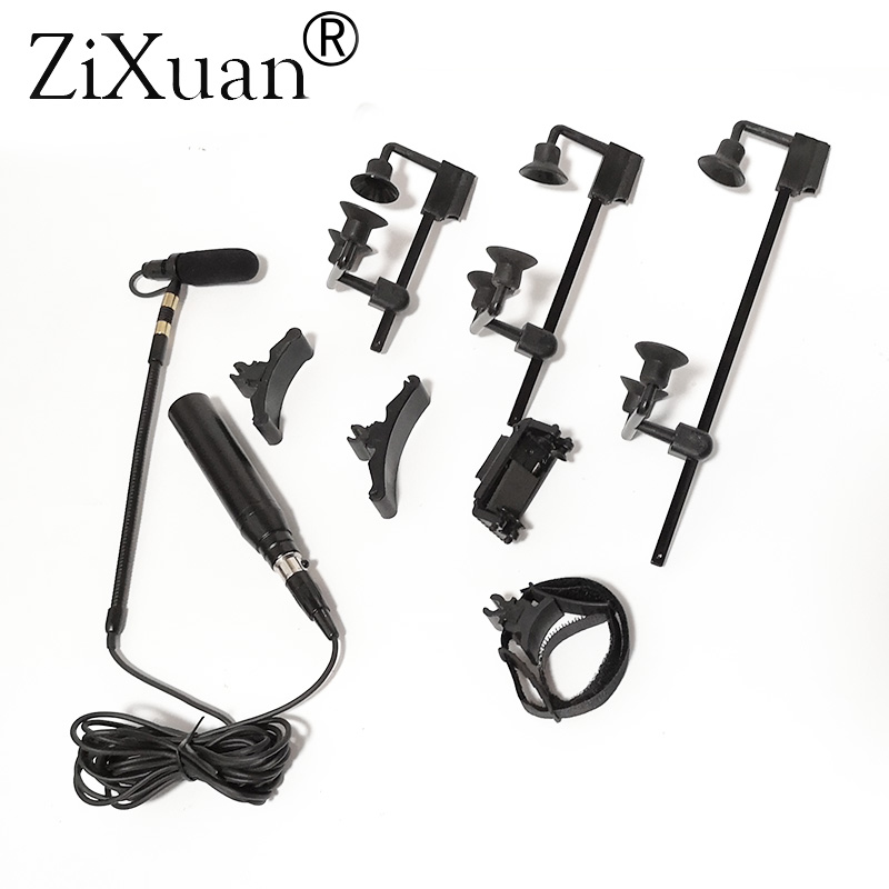 Musical Instrument Microphones with 7 Types Clips for Bass Cello Violin Guitar Flutes Piano Sax Vocal for AKG 3Pin Adapter