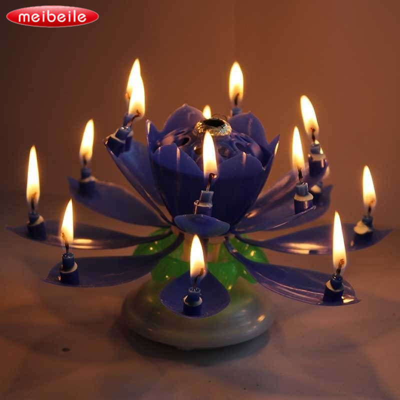 Musical Blossom Trophy gift festive party Navy-Blue Rotatable 14 candles for Children Birthday christmas Candle decoration