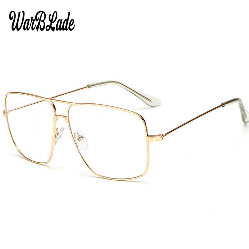 WarBLade Vintage Gold Metal Frame Eyeglasses Mens Womens Sun glasses Retro Square Optical Lens Eyewear Nerd Clear Lens Glasses