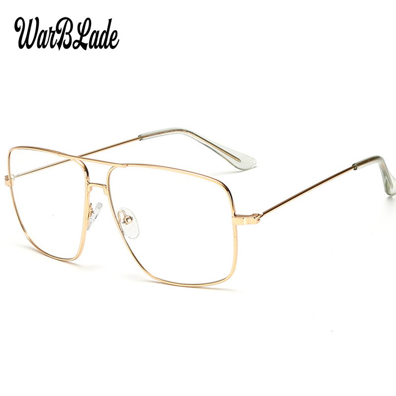 d42c563b5f Gafas con marco de Metal dorado Vintage WarBLade para hombre, gafas de sol  para mujer, lentes ópticas cuadradas Retro, lentes transparentes para  empollón ...