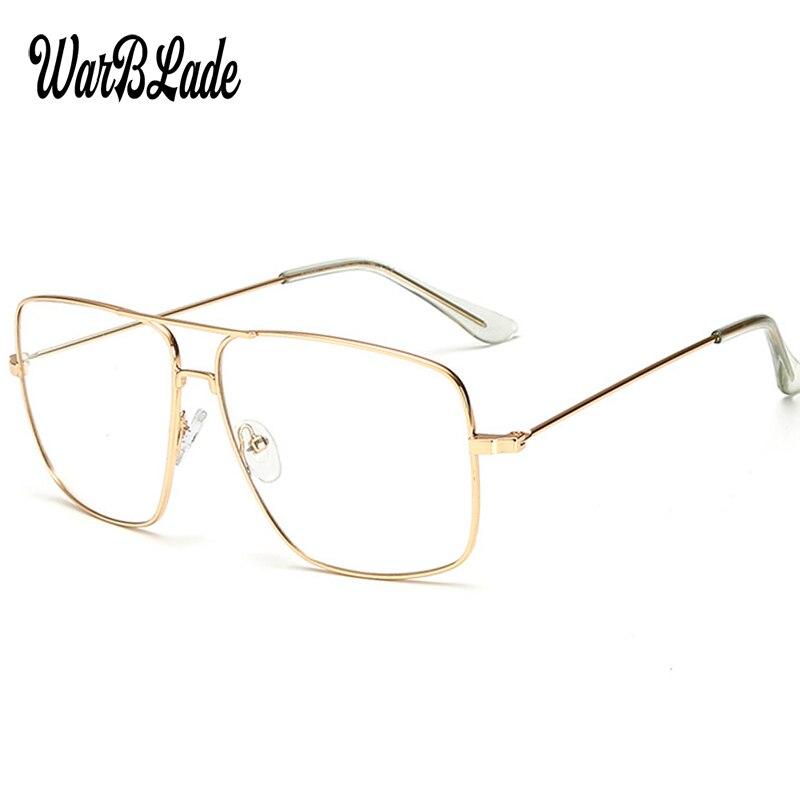 WarBLade Vintage Gold Metal Frame Eyeglasses Mens Womens Sun Glasses Retro Square Optical Lens Eyewear Nerd Clear Lens Glasses