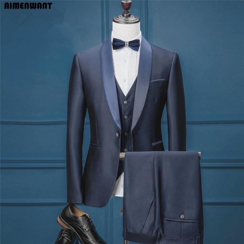 AIMENWANT Brand Navy Blue Suit Sets uk Top Quality Customise Formal Interview Suits Jacket+Vest+Pants Russian Prom Dress Blazer