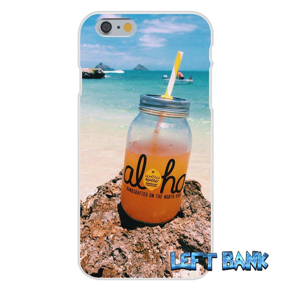 For iPhone 4 4S 5 5S 5C SE 6 6S 7 Plus Original Hawaii Aloha Beach Art Soft Silicone TPU Transparent Cover Case