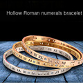 Delicate Smart Hollow Roman Numerals Bracelet Titanium Steel Bangle for Women Gift Fine Jewelry Pulseiras