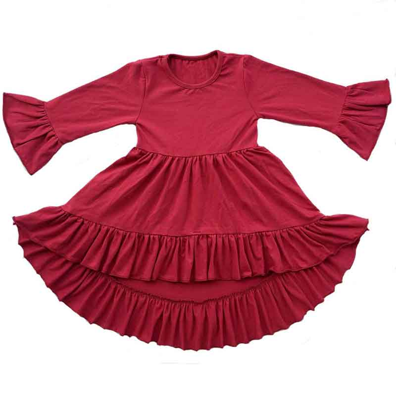 Burgundy Girls Dress Ruffle Autumn Winter Long Sleeve Girls Clothes Outfit Ruffle Girls Party Dress Kids Clothes Cotton Trumpet uoipae party dress girls 2018 autumn
