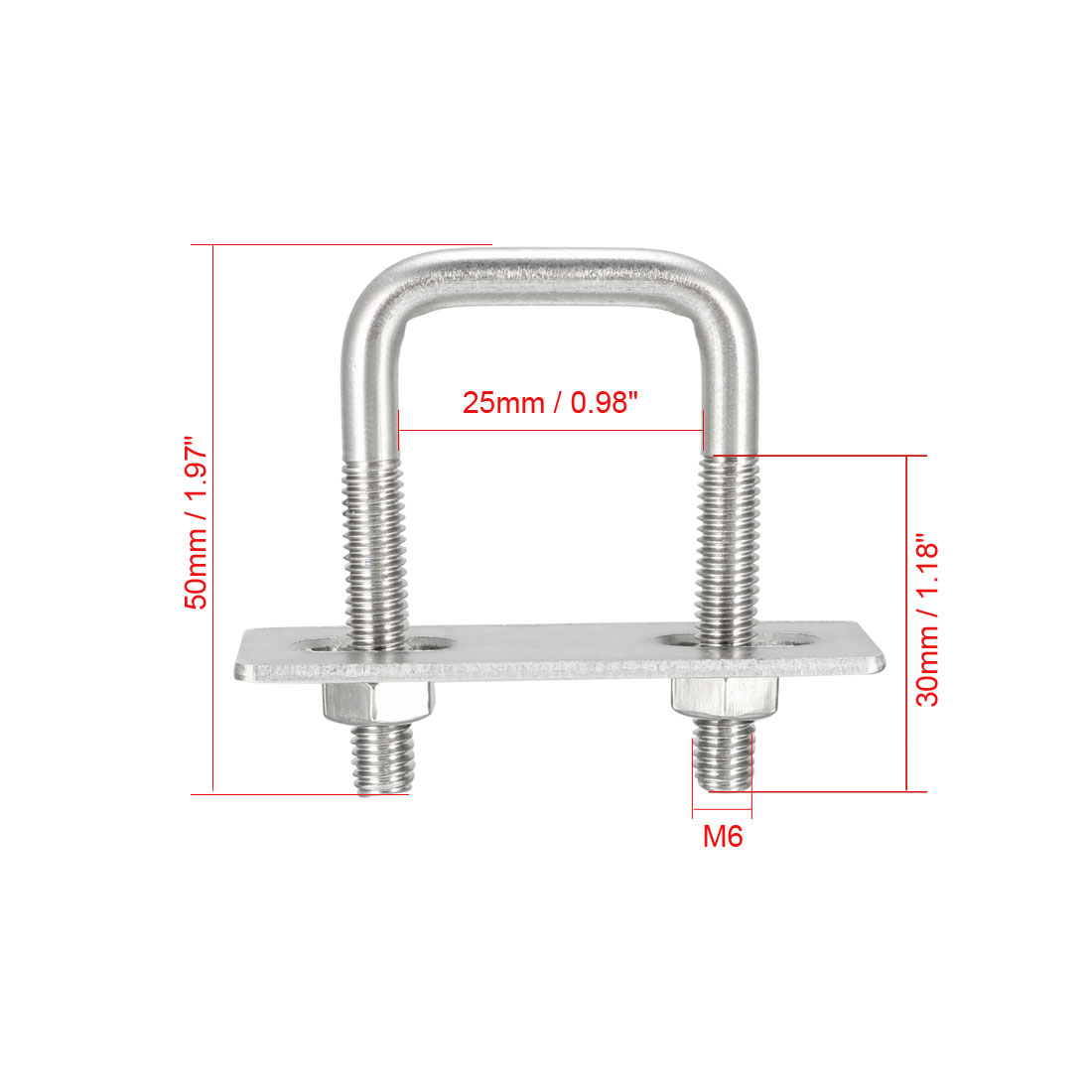 Homeswitch M8x105x130 304 Boulon carr/é en acier inoxydable type U Pi/èces dessieu fixe Argent/é