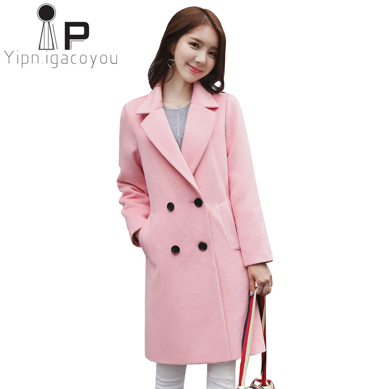 Wool Coat Women Long Outerwear Autumn Fashion Pink Woolen Coat Women Double Breasted Blend Wool Jacket Female Plus size Jackets