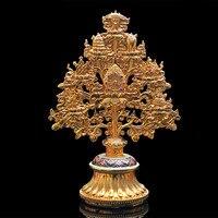Nepal Buddhist Exquisite Alloy Metal Gold Plating Eight Auspicious Symbol Treasured Tree Tibetan Putting Home Temple Decoration