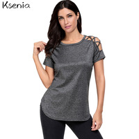 Ksenia 2017 Women Cotton Solid Hollow Out O Neck T Shirts Summer Ladies Fashion Tops Tee