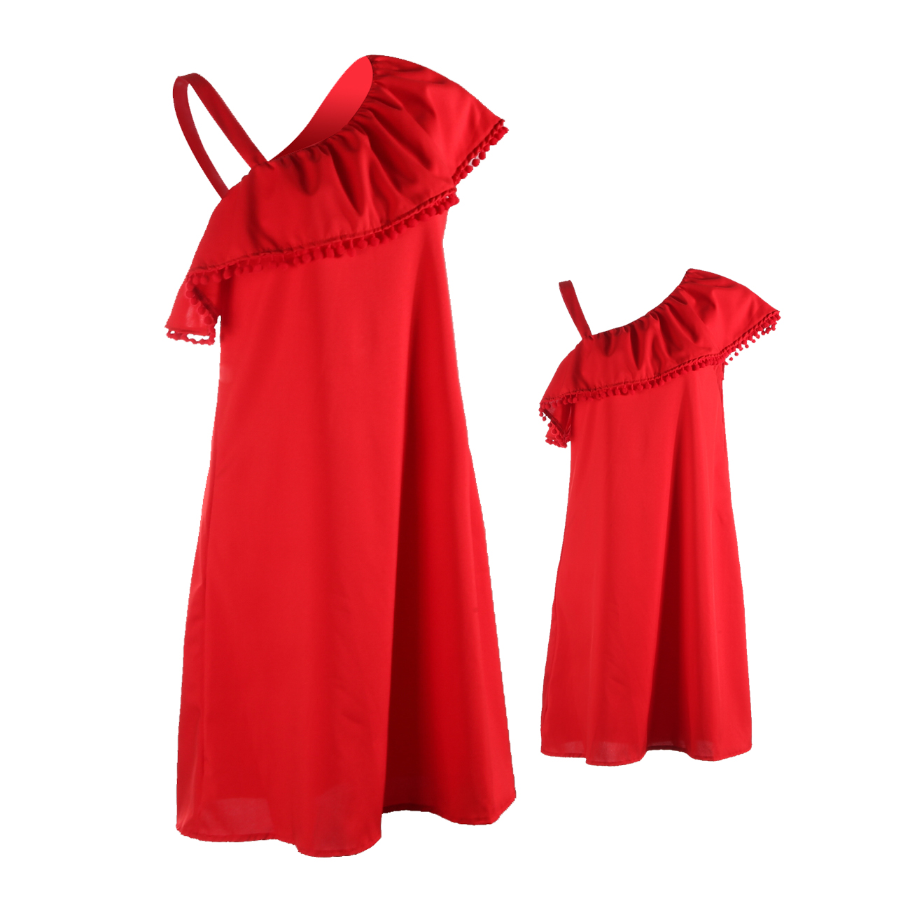Matching Mother Daughter Clothes Mom and Girls Solid Ruffles Short Sleeve Off Shoulder Dress 2018 Sundress Summer