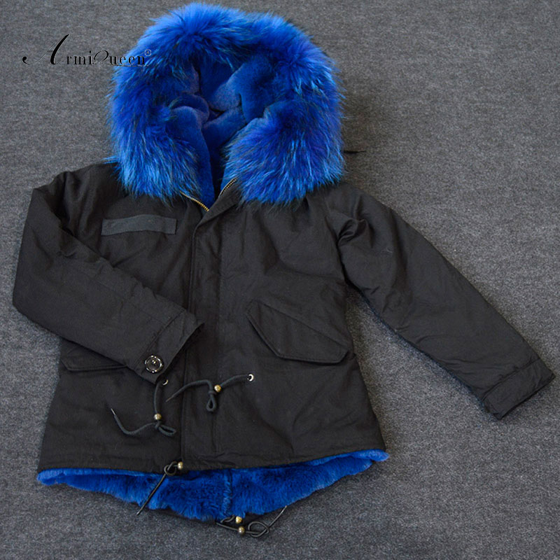 Fragrance woman new hot popular Italy style Black winter hooded blue faux fur jacket parkas
