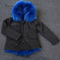 Parfüm kadın yeni sıcak popüler İtalya tarzı Siyah kış kapşonlu mavi faux kürk ceket parkas