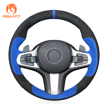 MEWANT Black Blue Suede Hand Sew Wrap Car Steering Wheel Cover for BMW M Sport G30 G31 G32 G20 G21 G14 G15 G16 X3 G01 X4 G02