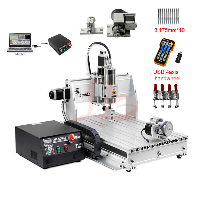 <font><b>CNC</b></font> <font><b>6040</b></font> <font><b>4</b></font> <font><b>axis</b></font> wood carving machine USB Mach3 control Woodworking Milling Engraver Machine with Cooling 800w image